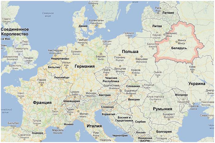 Карта Европы. Беларусь
