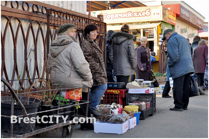 Уличная торговля на колхозном рынке Бресте