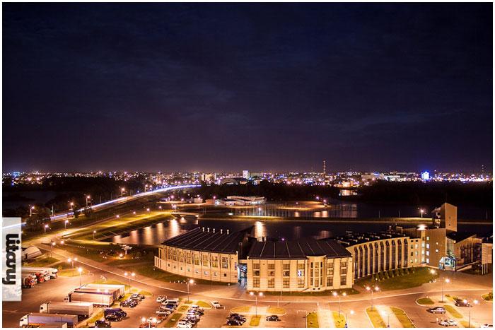 Ночной Брест. Гребной канал с высоты
