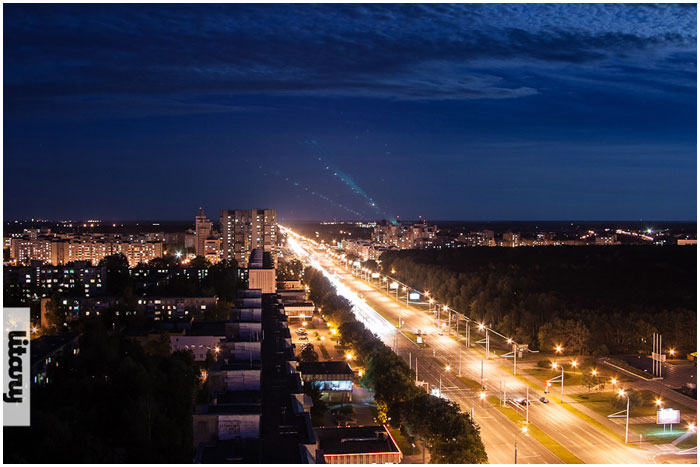 Улица Московская ночью в Бресте
