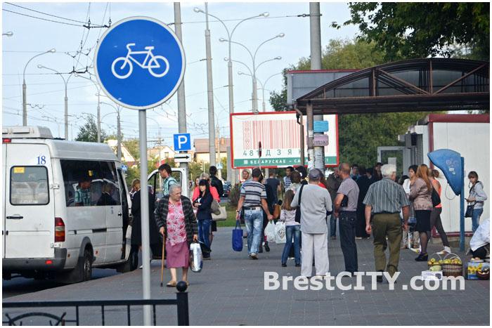 Велодорожка в Бресте возле остановки