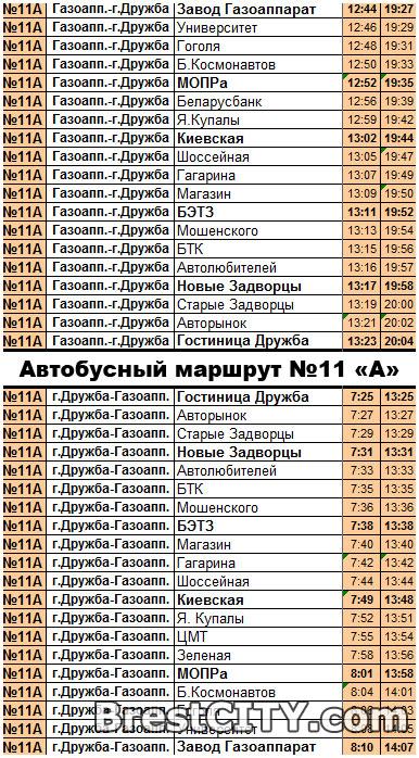 Расписание движения автобуса №11А в Бресте