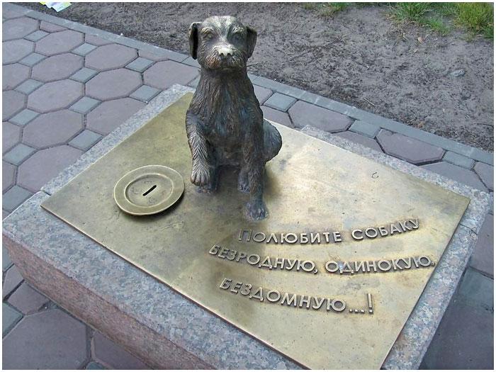 Памятник бездомной собаке в Тюмени