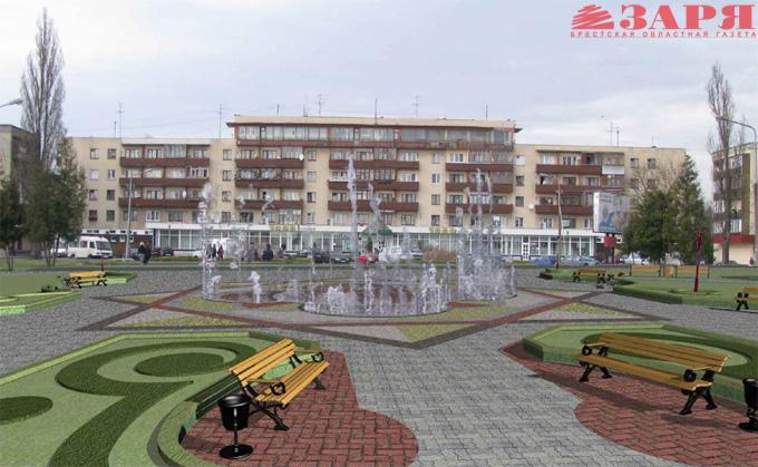 Новый фонтан на Набережной Бреста