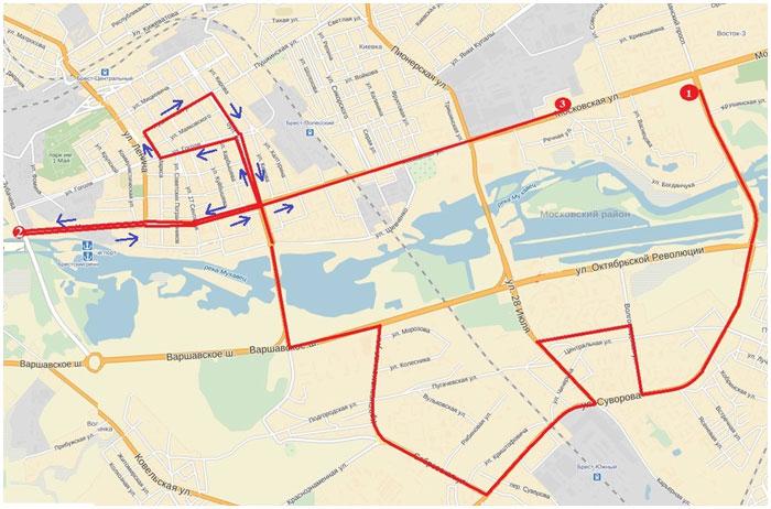 Схема (маршрут) автопробега 8 марта в Бресте в защиту жизни с момента зачатия