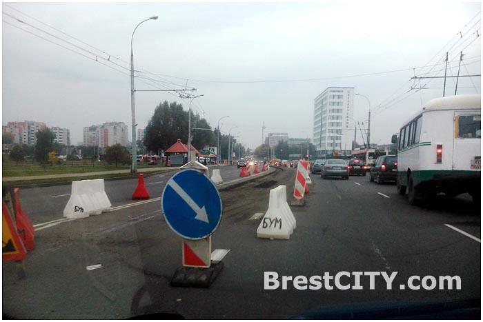 Дорожные работы в Бресте 30 сентября 2014. Пробка на мосту 28 июля