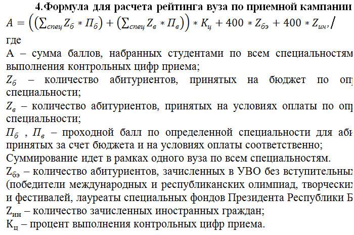 Рейтинг вузов Беларуси. Формула расчета