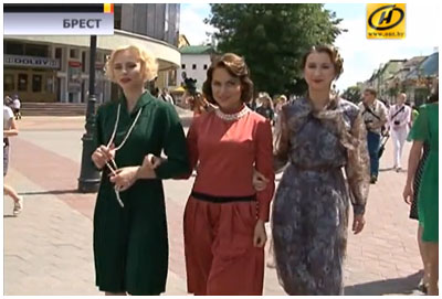 Парад стиляг в стиле 40-х годов на Советской в Бресте 3 июля 2014