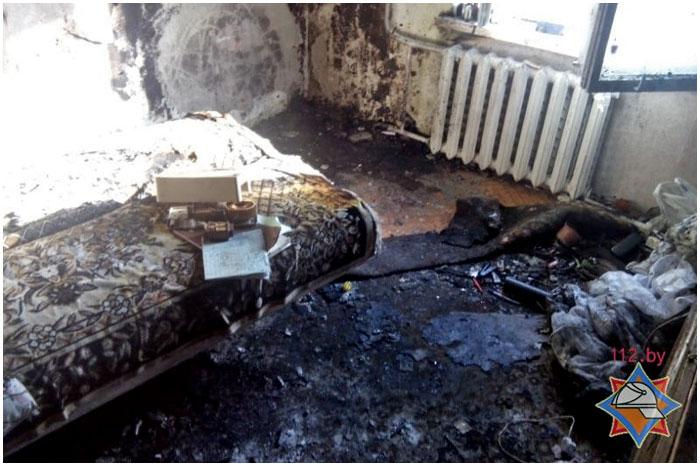 Пожар в Бресте на улице Гаврилова 16 января 2015