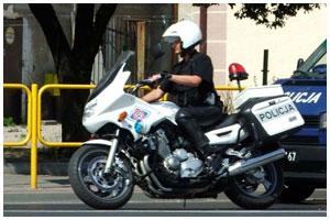 Польский полицейский на мотоцикле