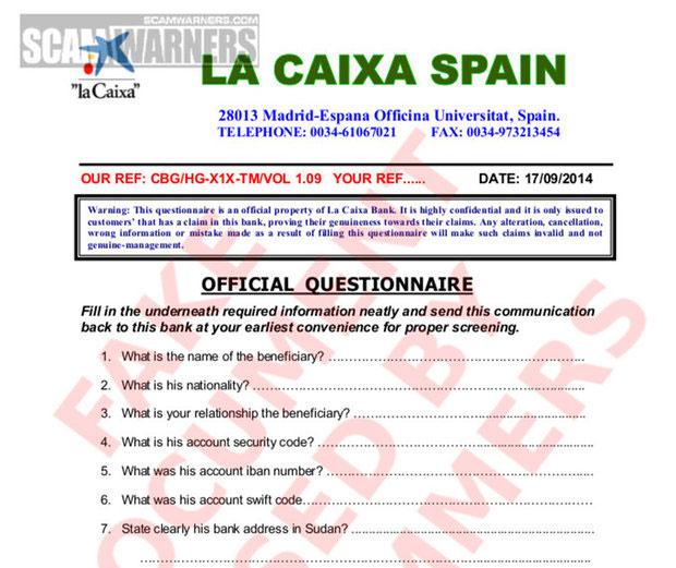 Пример поддельного бланка испанского банка
