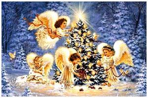 Рождество. Ангелы возле елки