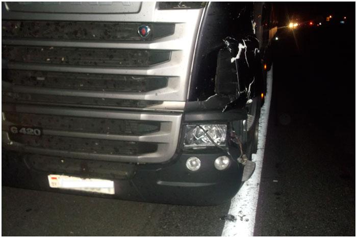 В Кобринском районе пешехода сбил автопоезд Скания