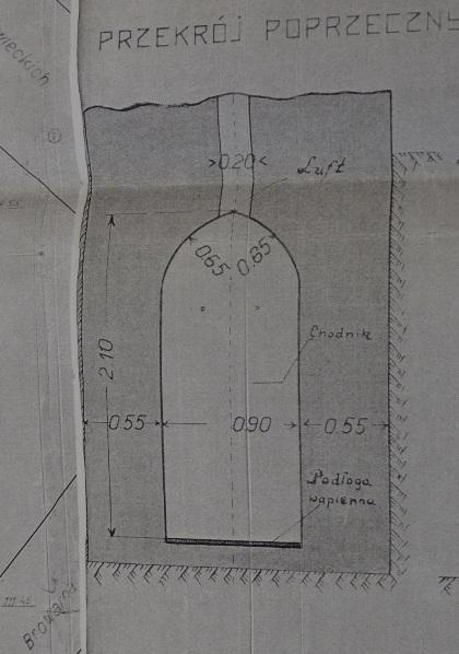Сечение хода в замке Вишневецких. Копия А.Дубровского