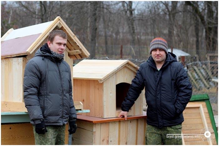 Деревянные будки-домики собакам из приюта в Бресте