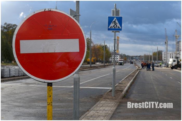 Открыто движение по проспекту Машеров в Бресте в сторону крепости. Фото BrestCITY.com