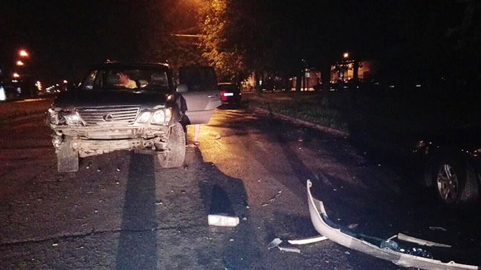 Ночная авария с участием автомобиля Лексус