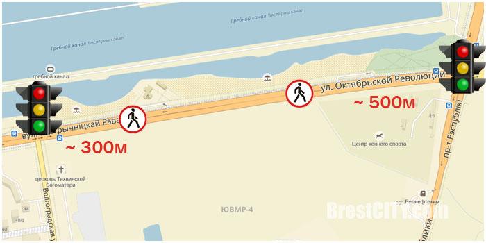 Закрыт пешеходный переход напротив спасательной станции. Фото BrestCITY.com