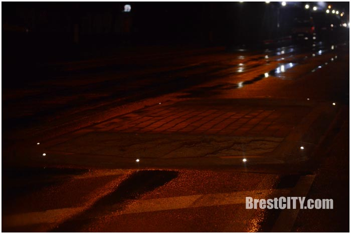 Светоотражающие элементы на улице Волгоградской в Бресте. Фото BrestCITY.com