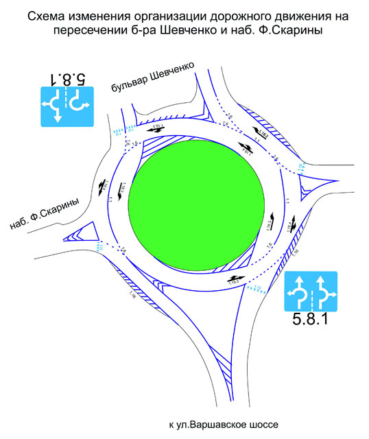 Изменение движения на кольце на Набережной