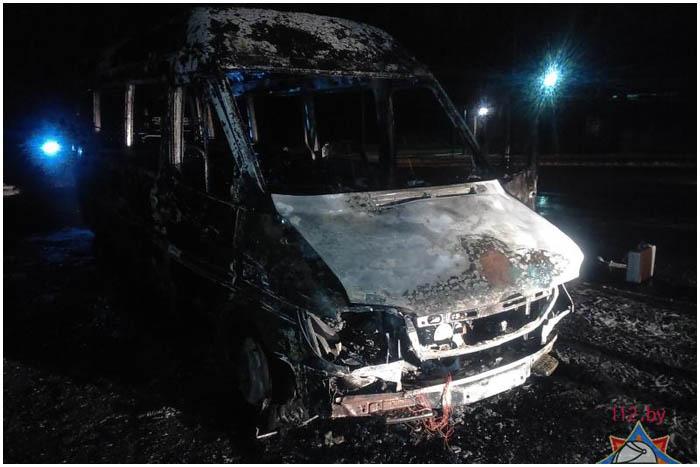 Пожар в маршрутке в Бресте