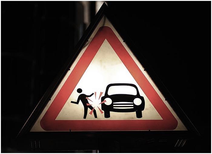 Наезд на пешехода. Аварийный знак