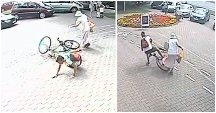 Велосипедист сбивает женщину на велодорожке