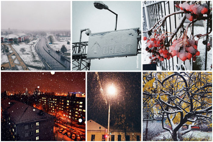 Первый снег в Бресте в инстаграм