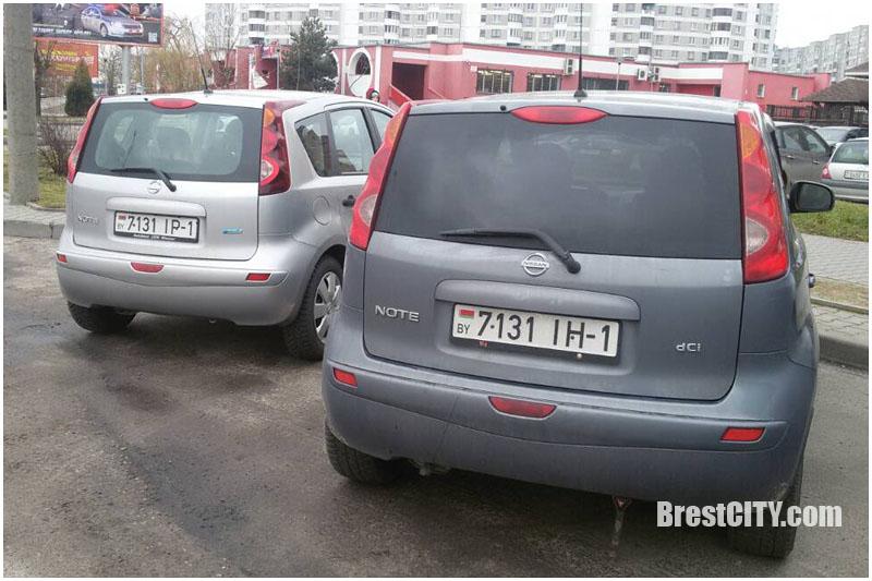 Совпадения номерных знаков на автомобилях в Бресте