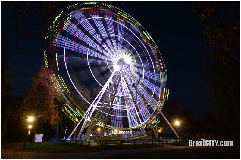 Колесо обозрения в парке Бреста ночью