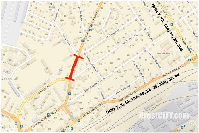 В Бресте будет перекрыта улица Красногвардейская