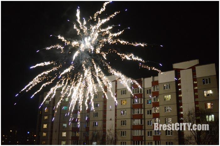 Новогодний фейерверк во дворе дома