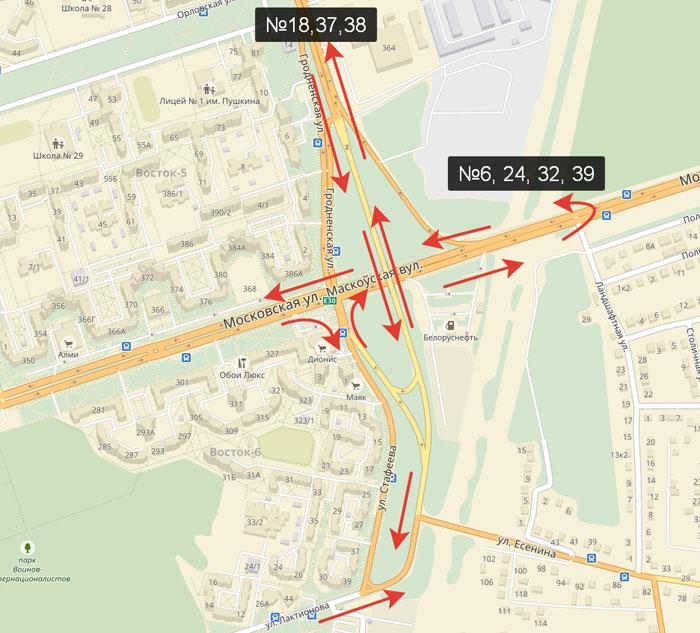Схема движения автобусов в Бресте 18 июня