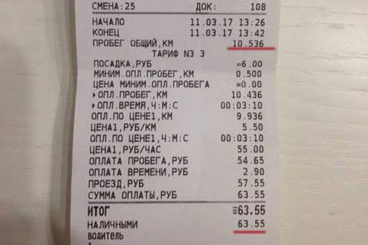 Поездка на такси обошлась в 63 рубля