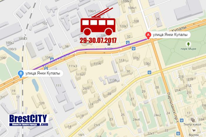 Ограничение движения троллейбусов в Бресте