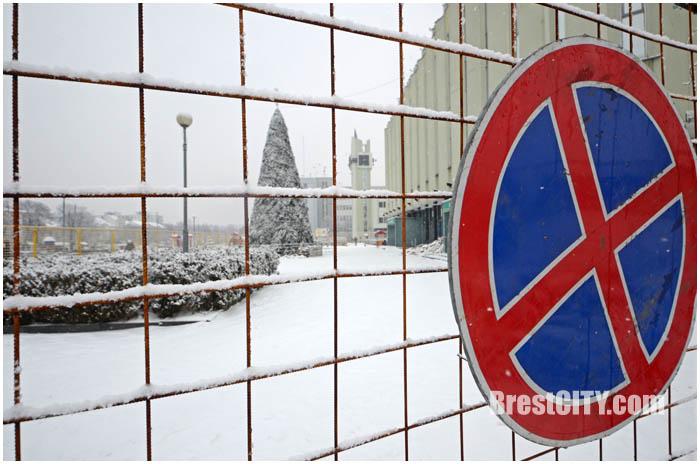 ЦУМ и елка за забором. Фото BrestCITY.com