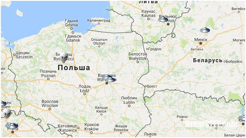 Создана карта «вторжений инопланетян» на Землю. Как там Беларусь и Брест?