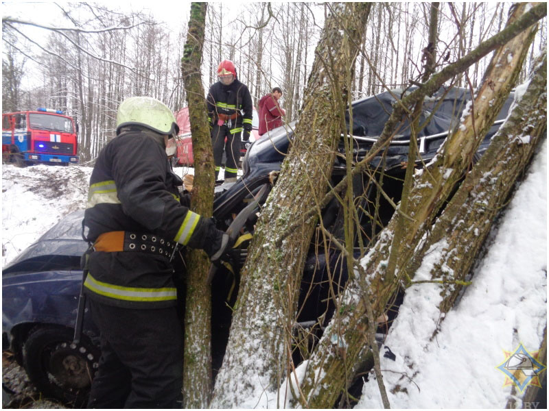 В Барановичском районе «Ауди» столкнулся с деревом: работники МЧС деблокировали женщину-водителя