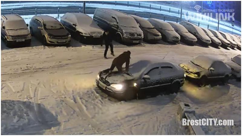 Брест, 4 утра: пьяные молодые люди прыгают по машинам (видео)