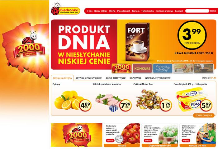 Сайт магазина Biedronka в Польше