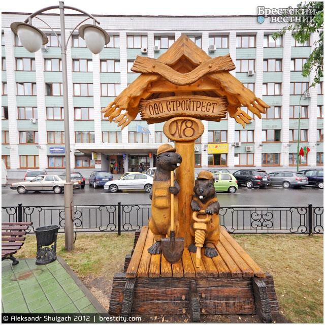Бобры-строители на Бульваре Шевченко в Бресте