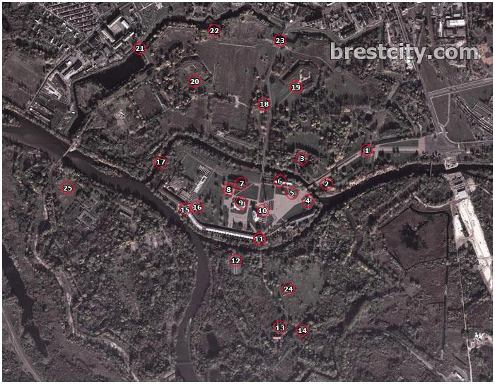 Карта (схема) Брестской крепости