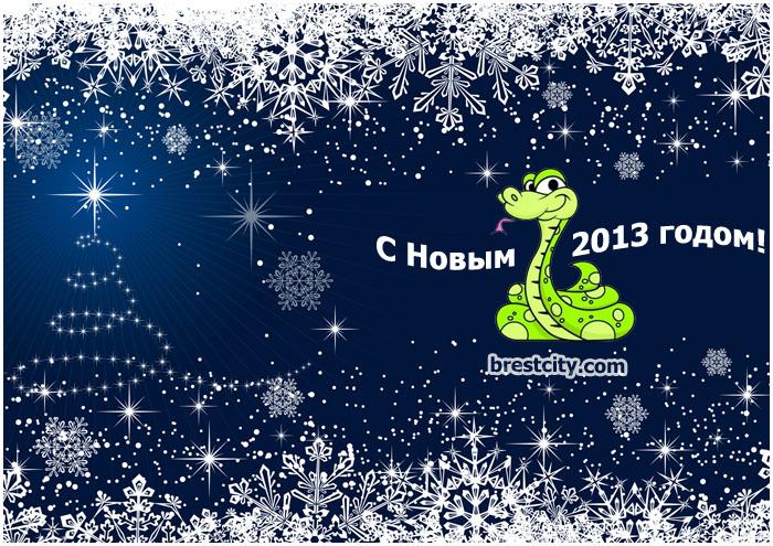 Новогодняя открытка в год змеи 2013
