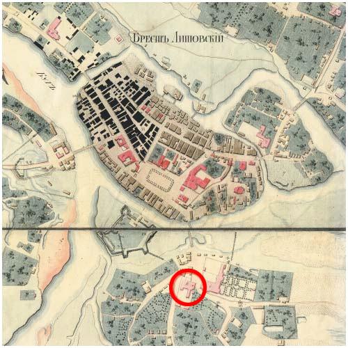 Бернардинский монастырь на карте старого Бреста