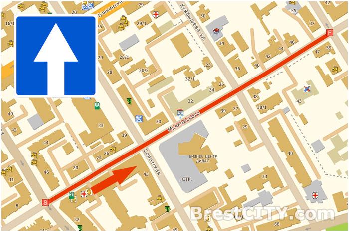 Улица Маяковского в Бресте с односторонним движением. Схема