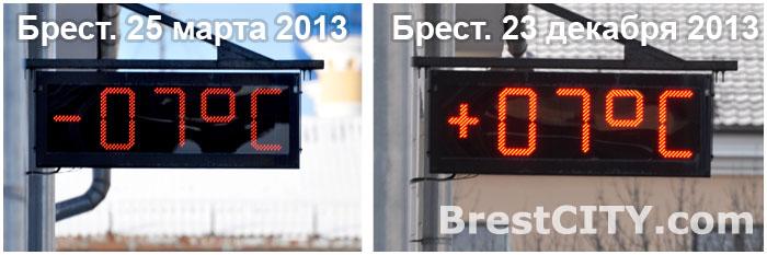 Погода в Бресте в марте и декабре 2013
