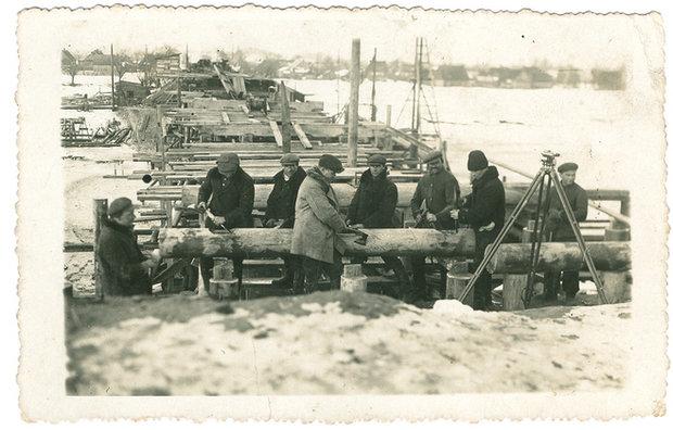 Строительство Гузнянского моста в 1935 году