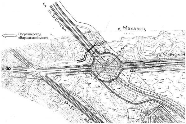 Схема расположения транспортного кольца на трассе Западного обхода г.Бреста
