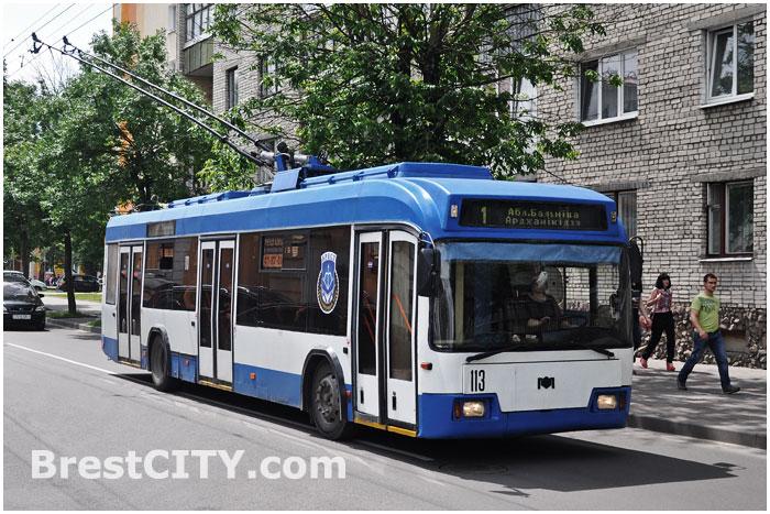 Троллейбус №1 на ул. К.Маркса в Бресте