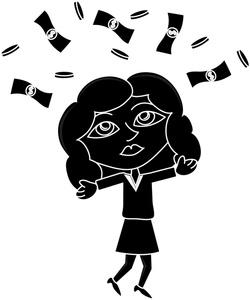 Женщина, деньги, силуэт